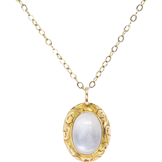 Victorian Blue Moonstone and 14k Yellow Gold Pendant Necklace