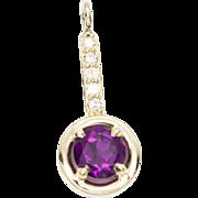 1.15ctw Grape Garnet 14k Yellow Gold Pendant with Diamonds