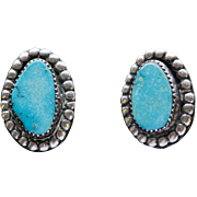 Vintage Southwestern Turquoise Sterling Silver Clip Earrings