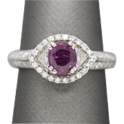1.76ctw Handmade Natural Ruby and Diamond Ring 18k White Gold