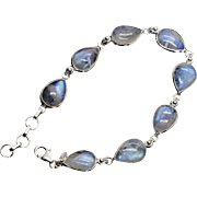 Blue Moonstone Pear Shaped Link Bracelet in Sterling Silver Adjustable Length