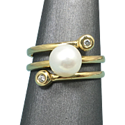 Pearl and Diamond Twist Bypass Ring 14k Yellow Gold