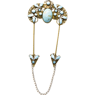 Victorian Gold Plated Turquoise and Turquoise Enamel Hair Pin