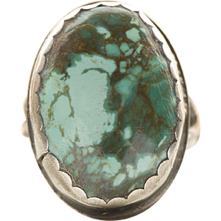 Vintage Southwestern Sawtooth Bezel Handcrafted Turquoise Sterling Silver Ring