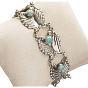 AE Heart Mexican Sterling Silver Repousse Turquoise Link Bracelet Mexico