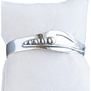 Vintage Hand Wrought Sterling Silver Calla Lily Cuff Bracelet