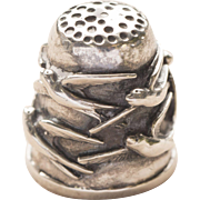 Vintage Sterling Silver Thimble with Bird Design