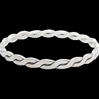 Vintage Mexican Sterling Silver Bangle Bracelet Woven Design