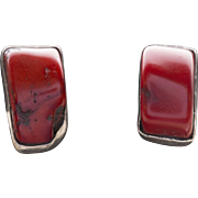 Vintage Red Coral and Sterling Silver Oversized Stud Earrings