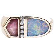 Vintage Kabana Blue Opal Inlay and Pink Tourmaline with Diamond Ring 14k Size 7