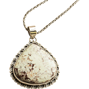 """White Buffalo Turquoise Sterling Silver Necklace and Pendant 24"""""""