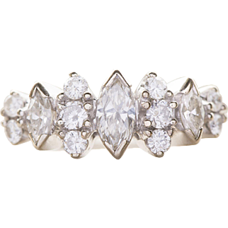 1.00ctw Marquise and Round 14k White Gold Ring Size 5