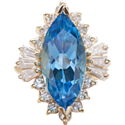 3.08ctw Ostro Blue Topaz Marquise and Diamond Cocktail Ring 14k