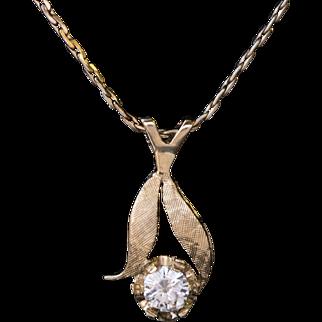 Vintage 0.25ct Diamond Flower Pendant and Chain 14k