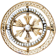 Victorian Seed Pearl and Filigree Floral Round Pin