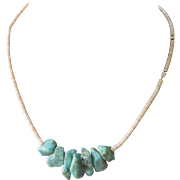Vintage Southwestern Turquoise Nugget and Heshi Shell Beaded Necklace 15""