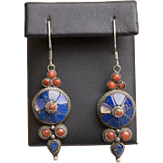 Vintage Southwestern Lapis and Coral Sterling Silver Dangle Earrings