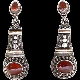 Vintage Art Deco Carnelian Copper Sterling Silver Dangle Earrings