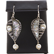 Vintage Ascopa Roman Glass and Pearl Sterling Silver Dangle Earrings