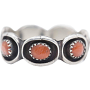 Vintage Southwestern Coral and Sterling Silver Ring