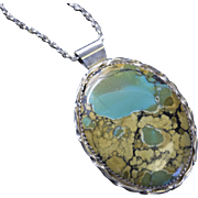 "Vintage Large Oval Turquoise Pendant and 24"" Sterling Silver Chain"