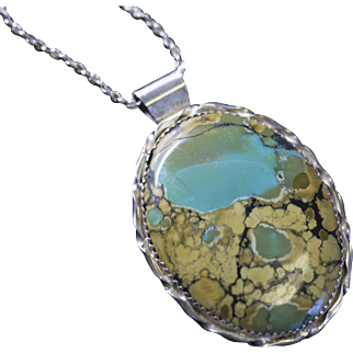 """Vintage Large Oval Turquoise Pendant and 24"""" Sterling Silver Chain"""