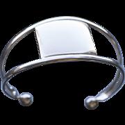 Vintage Sterling Silver Cuff Bracelet Simple Split Shank Design