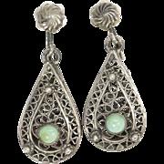 Victorian Silver Filigree Turquoise Drop Dangle Screwback Earrings