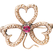 Victorian Triple Heart Clover Pin with Ruby
