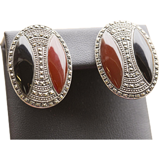 Vintage Carnelian and Onyx Marcasite Art Deco Omega Back Earrings