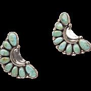 Vintage Navajo Half Concha Turquoise Sterling Silver Earrings