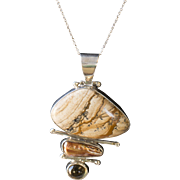 Vintage Southwestern Jasper Pearl and Citrine Pendant in Sterling Silver