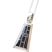 Vintage Taxco Valentin Inlay Onyx and Sterling Silver Pendant