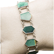 Handcrafted Turquoise Print Inlay Geometric Link Sterling Silver Toggle Bracelet