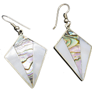 Vintage Taxco Mexico Mother of Pearl and Abalone Sterling Silver Dangle Earrings