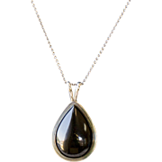 Vintage Teardrop Shape Onyx and Sterling Silver Pendant
