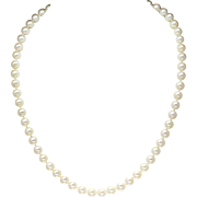 """Vintage Japanese Cultured Akoya Pearl Necklace with Sterling Silver Clasp 18"""""""