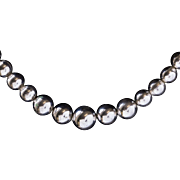 Vintage Mexican Graduated Sterling Silver Bead Strand Necklace 16""