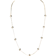 """Vintage 31"""" Sterling Silver Chain Necklace with Solid Silver Beads"""