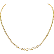 Exquisite 1.00 ctw Diamond and 14K Yellow Gold Ribbon and Woven Chain Necklace 16""