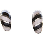 RARE! Vintage Kabana Pink Mother of Pearl and Onyx Inlay Stud Earrings in Sterling Silver