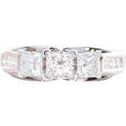 1.49 ct Princess Cut Diamond and White Gold 14K Engagement Ring