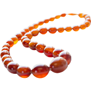 """Vintage Graduated 9.5-18.5mm Celluloid Amber Beaded Necklace 24"""""""