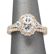 2.10ctw Oval Moissanite and Diamond Engagement Ring and Wedding Band in 14K Rose Gold