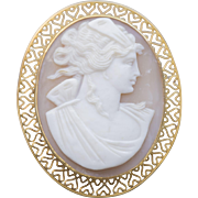 Vintage Cameo 14k Yellow Gold Pendant/Brooch