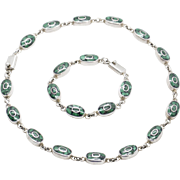 Vintage Taxco Mexico Malachite Inlay Sterling Silver Necklace and Bracelet Set