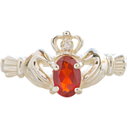 Vintage Fire Opal Claddagh Ring 14K Gold