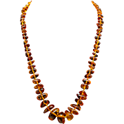 """Vintage Amber Graduated Bead Necklace 24"""""""