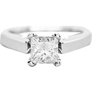 1.60ct Princess Cut Moissanite Solitaire Engagement Ring 14K White Gold