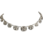 """Victorian Sterling Silver Filigree Floral Choker Necklace 14"""""""